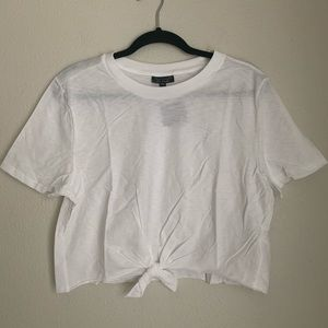 NEW TOPSHOP white tie front cropped tee